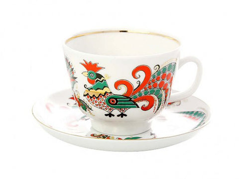 Cup & Saucer Two Roosters 1/2