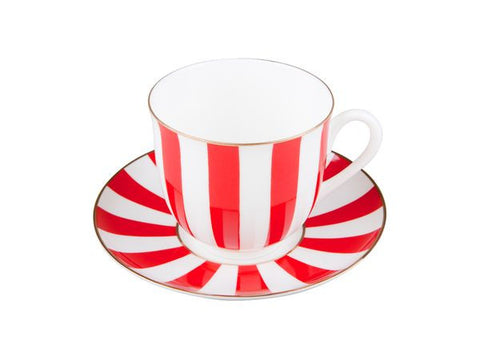 Cup & saucer Yes and No red