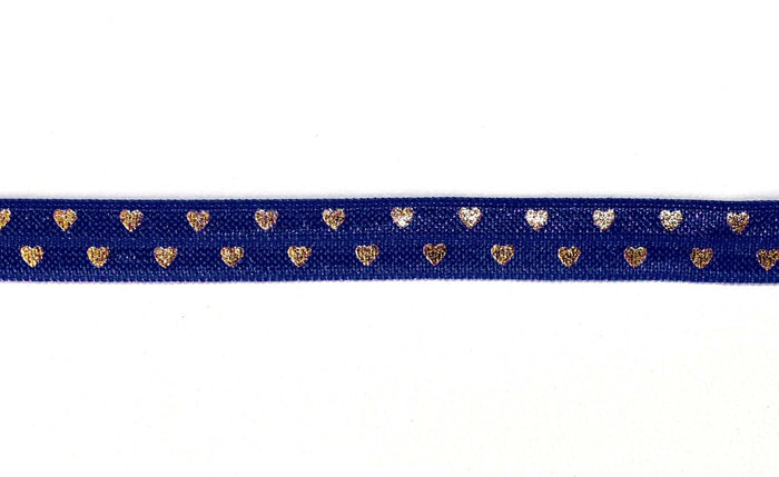 "3/8"" Gold Hearts Fold Over Elastics - Peak Bloom"