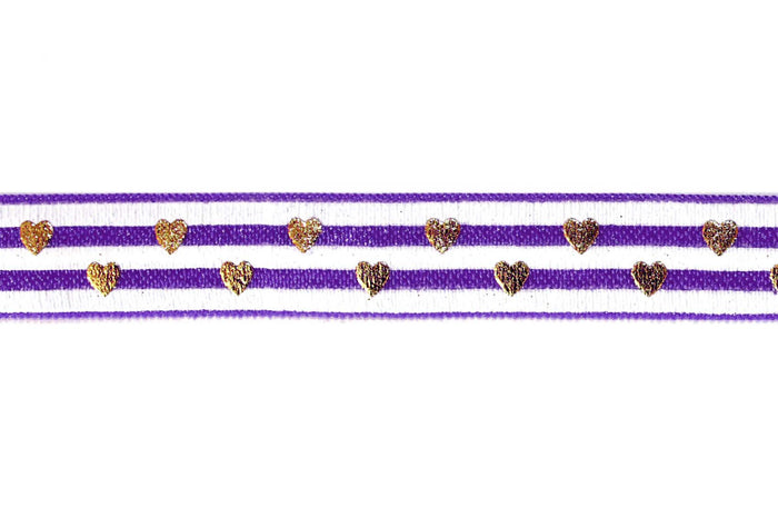 "5/8"" Gold Hearts and Stripes Fold Over Elastics - Peak Bloom"