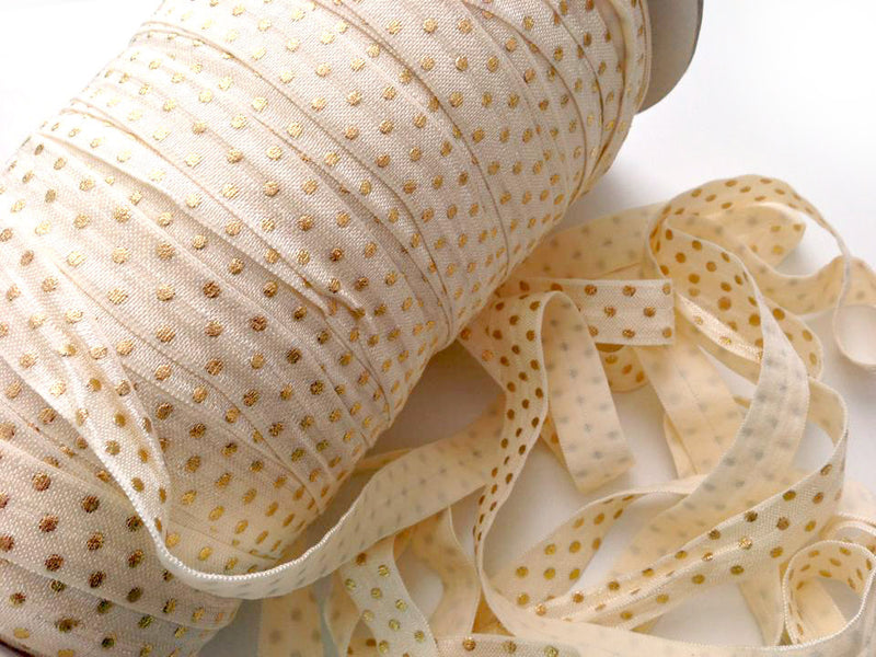 "5/8"" Gold Dots Fold Over Elastic"