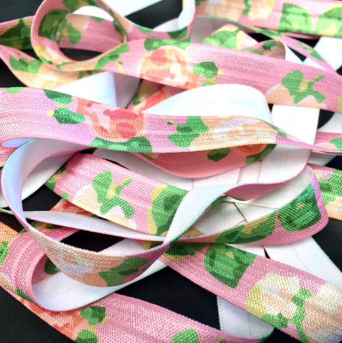 "5/8"" Rosy Blooms Fold Over Elastic - Peak Bloom"