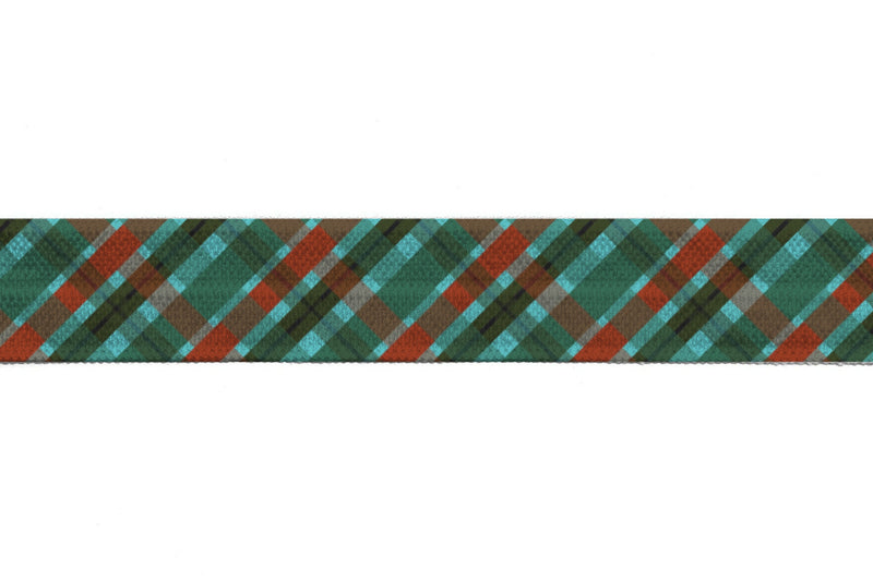 "5/8"" Plaid Fold Over Elastic - Peak Bloom"
