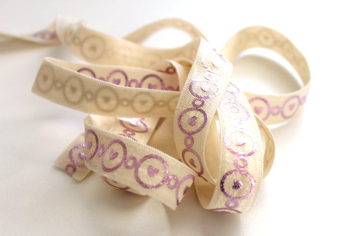 "5/8"" Heart Links Fold Over Elastic - Peak Bloom"