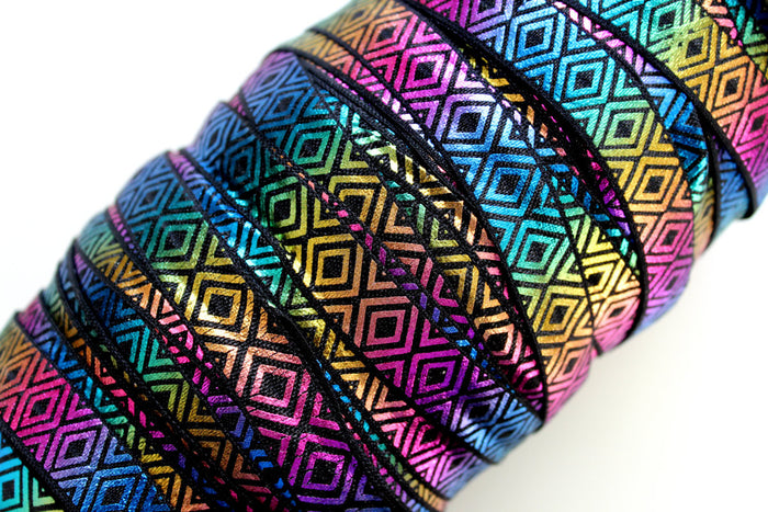 "5/8"" Metallic Aztec Fold Over Elastic - Peak Bloom"
