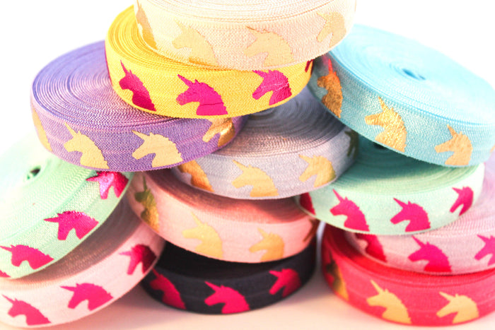 "5/8"" Unicorn Fold Over Elastic - Peak Bloom  - 1"