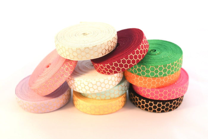 "5/8"" Gold Honeycomb Fold Over Elastic - Peak Bloom"