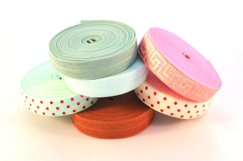 "5/8"" Celadon Fold Over Elastic - Peak Bloom"
