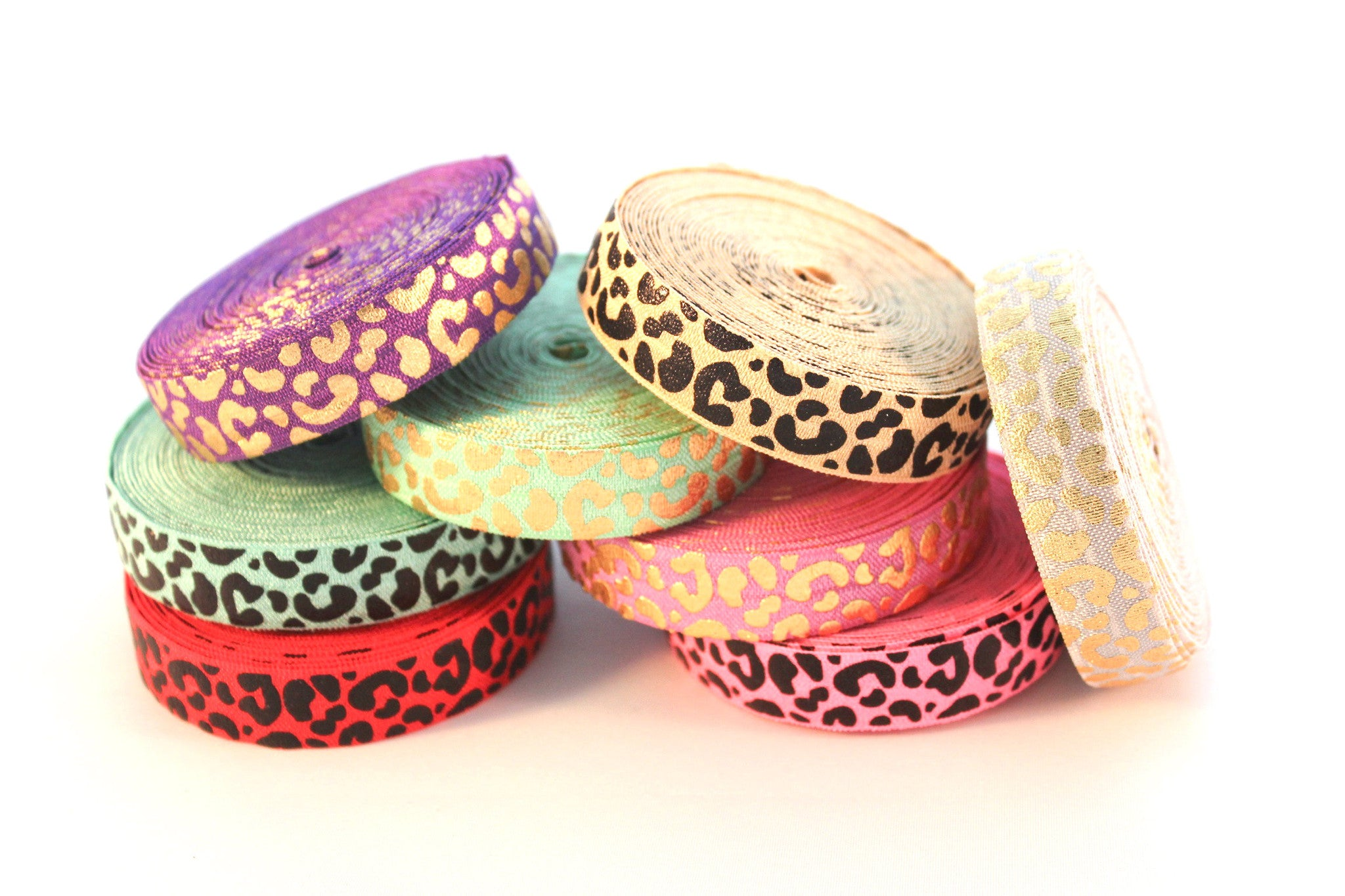 "5/8"" Leopard Fold Over Elastic - Peak Bloom  - 1"