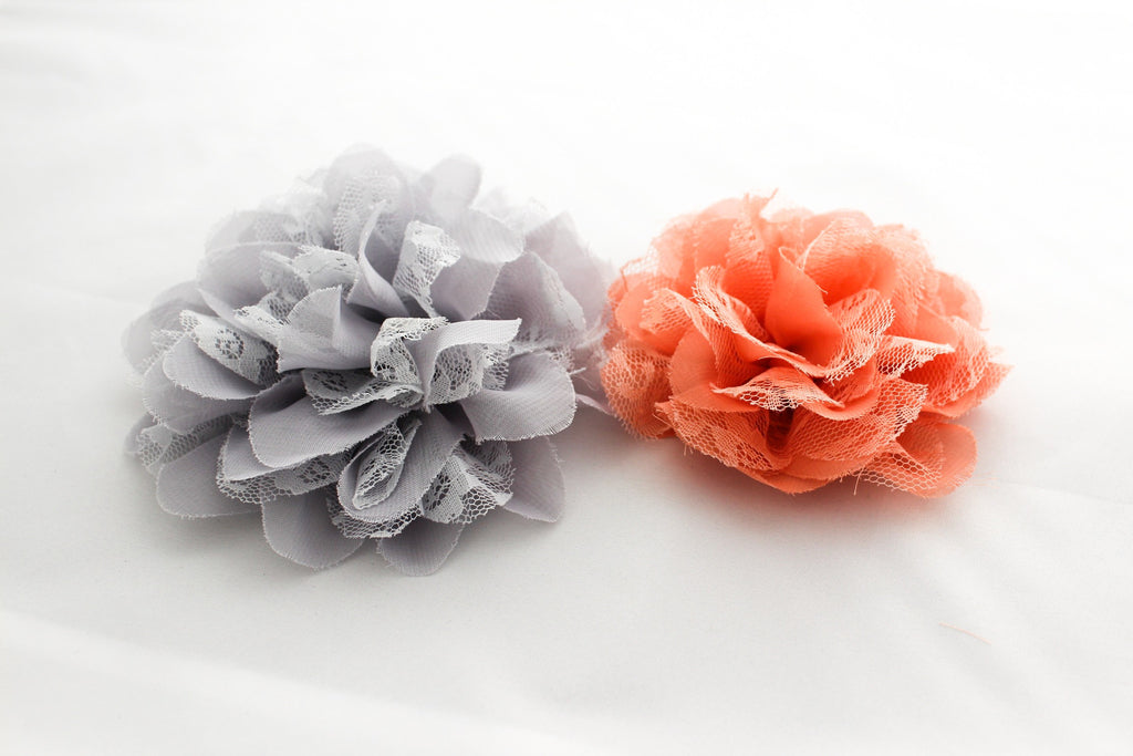 EXTRA Large Chiffon Lace Flowers (5 inches)