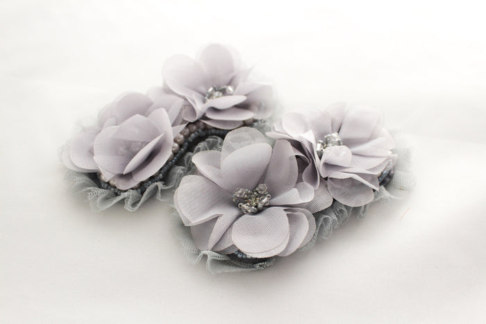 Extra Large Beaded Rhinestone Chiffon Flowers - Peak Bloom