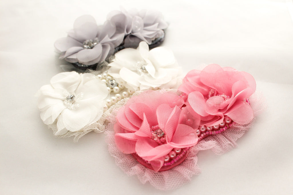 Extra Large Beaded Rhinestone Chiffon Flowers