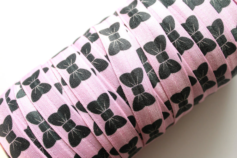 "5/8"" Bows in Strawberry Creme Fold Over Elastic - Peak Bloom"