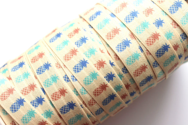 "5/8"" Pina Colada Pineapple Fold Over Elastic - Peak Bloom"