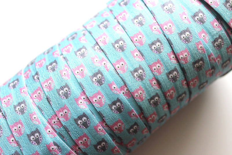 "5/8"" Blue Chill Owls Fold Over Elastic - Peak Bloom"