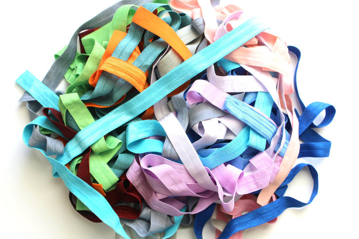 "Solid Colors 5/8"" Fold Over Elastic Grab Bag 40 Yards - Peak Bloom"