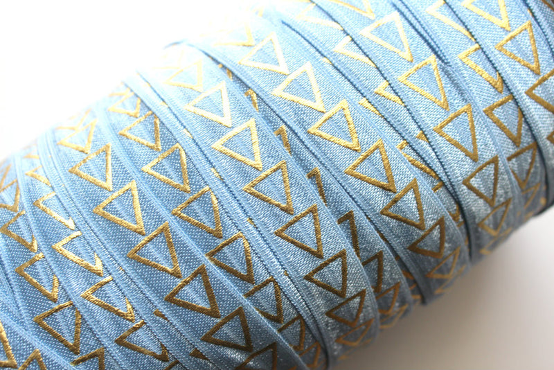 "5/8"" Gold Large Triangles Fold Over Elastic - Peak Bloom"