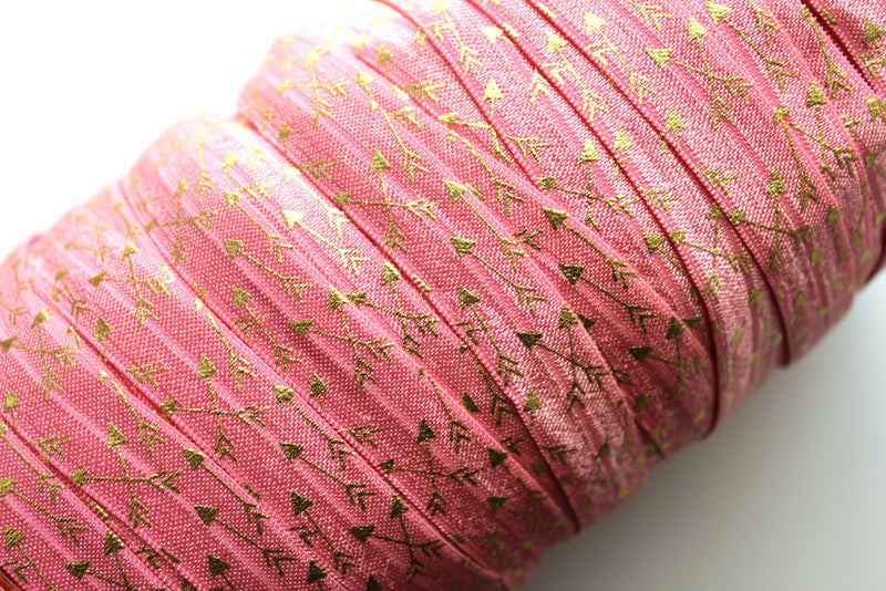 "5/8"" Gold Arrows Fold Over Elastic - Peak Bloom"