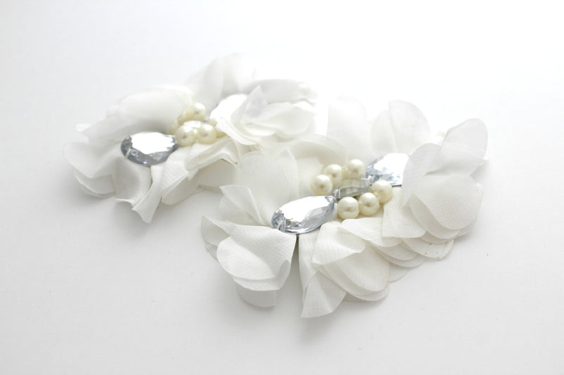 Extra Large Tear Jeweled Pearl Flowers - Peak Bloom  - 12