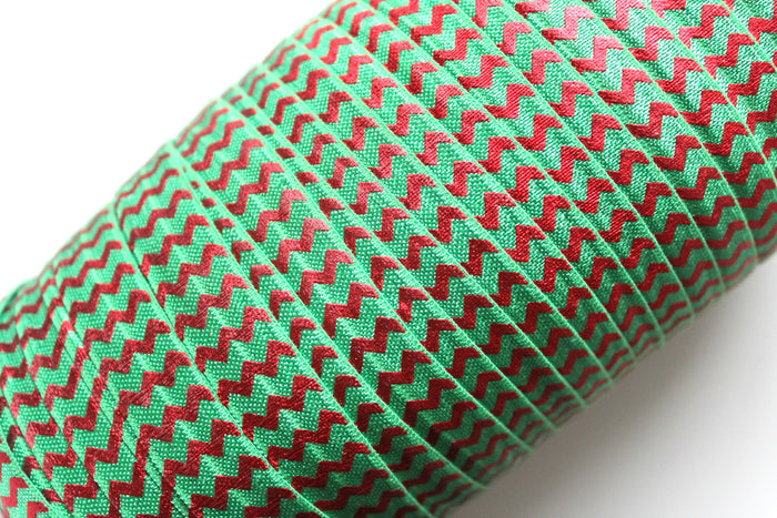 "5/8"" Holiday Classical Green Red Chevron Fold Over Elastic - Peak Bloom  - 1"