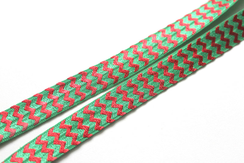 "5/8"" Holiday Classical Green Red Chevron Fold Over Elastic - Peak Bloom  - 2"