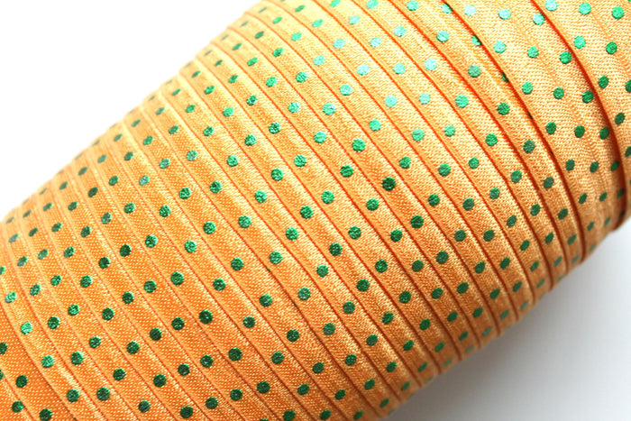 "5/8"" Green Dots Fold Over Elastic - Peak Bloom"
