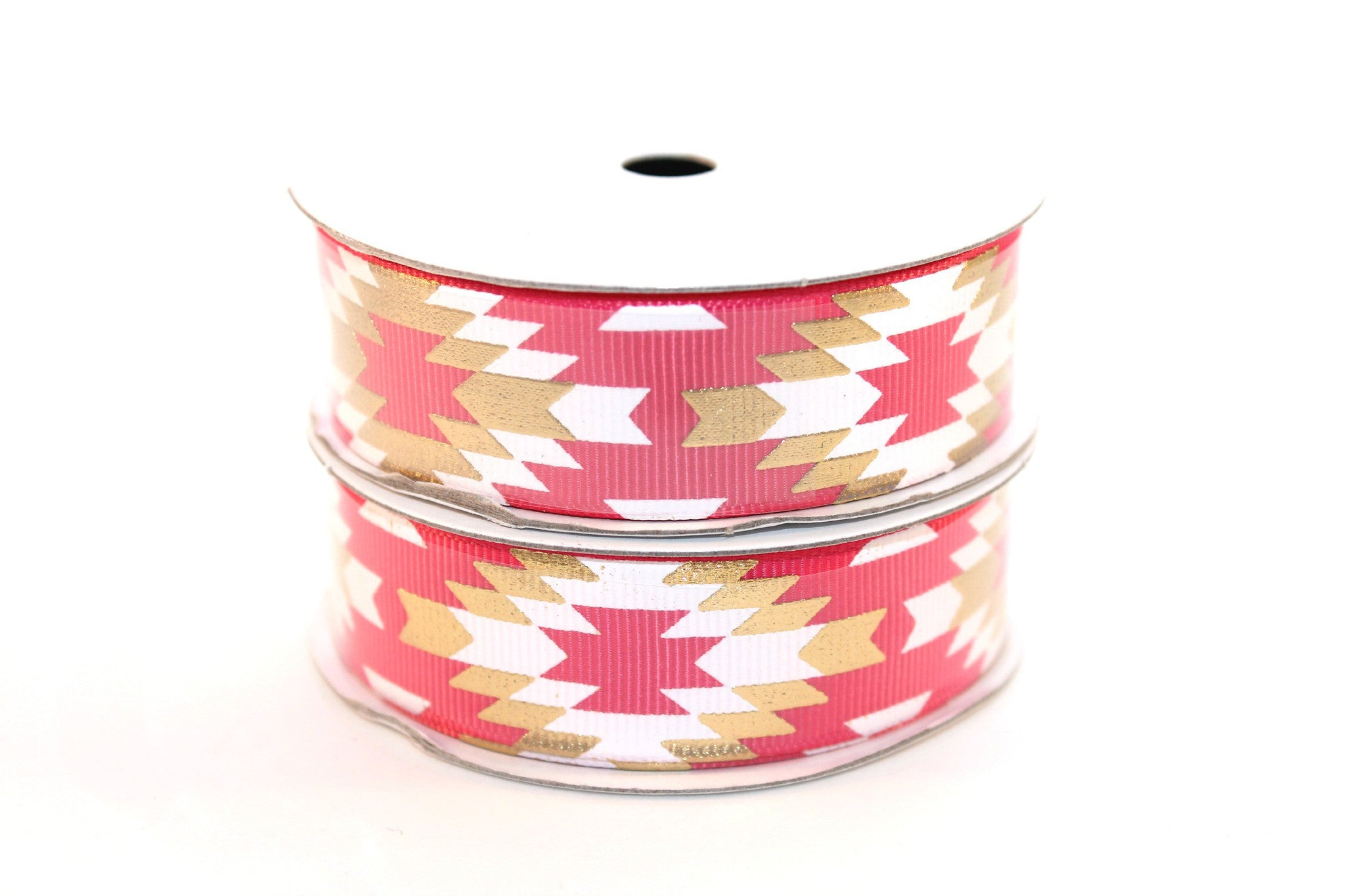"7/8"" Camellia Rose White/Gold Fashion Aztec Grosgrain Ribbon (5 Yards) - Peak Bloom"