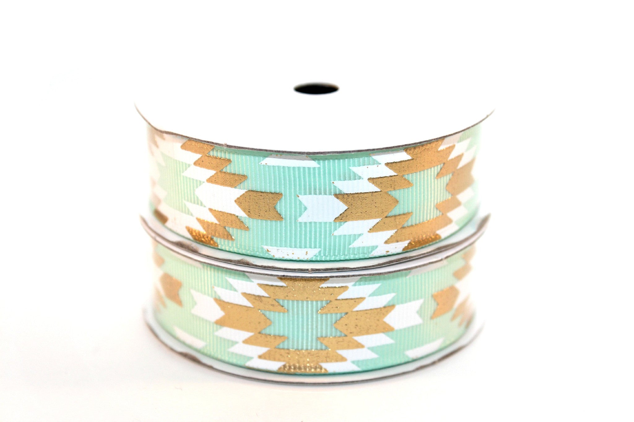 "7/8"" Fresh Mint White/Gold Fashion Aztec Grosgrain Ribbon - Peak Bloom"