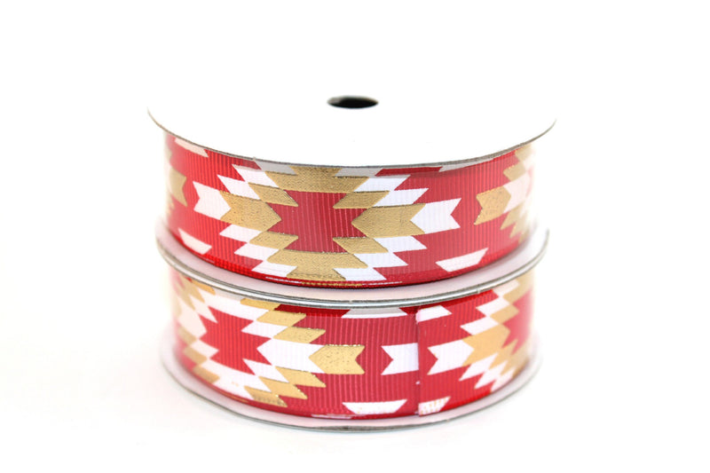 "7/8"" Hot Red White/Gold Fashion Aztec Grosgrain Ribbon - Peak Bloom"