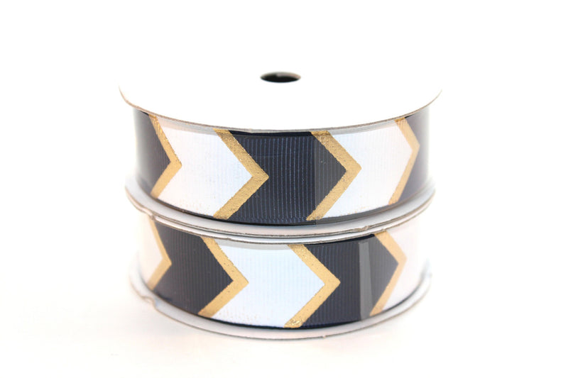 "7/8"" Navy White/Gold Fashion Chevron Grosgrain Ribbon - Peak Bloom"