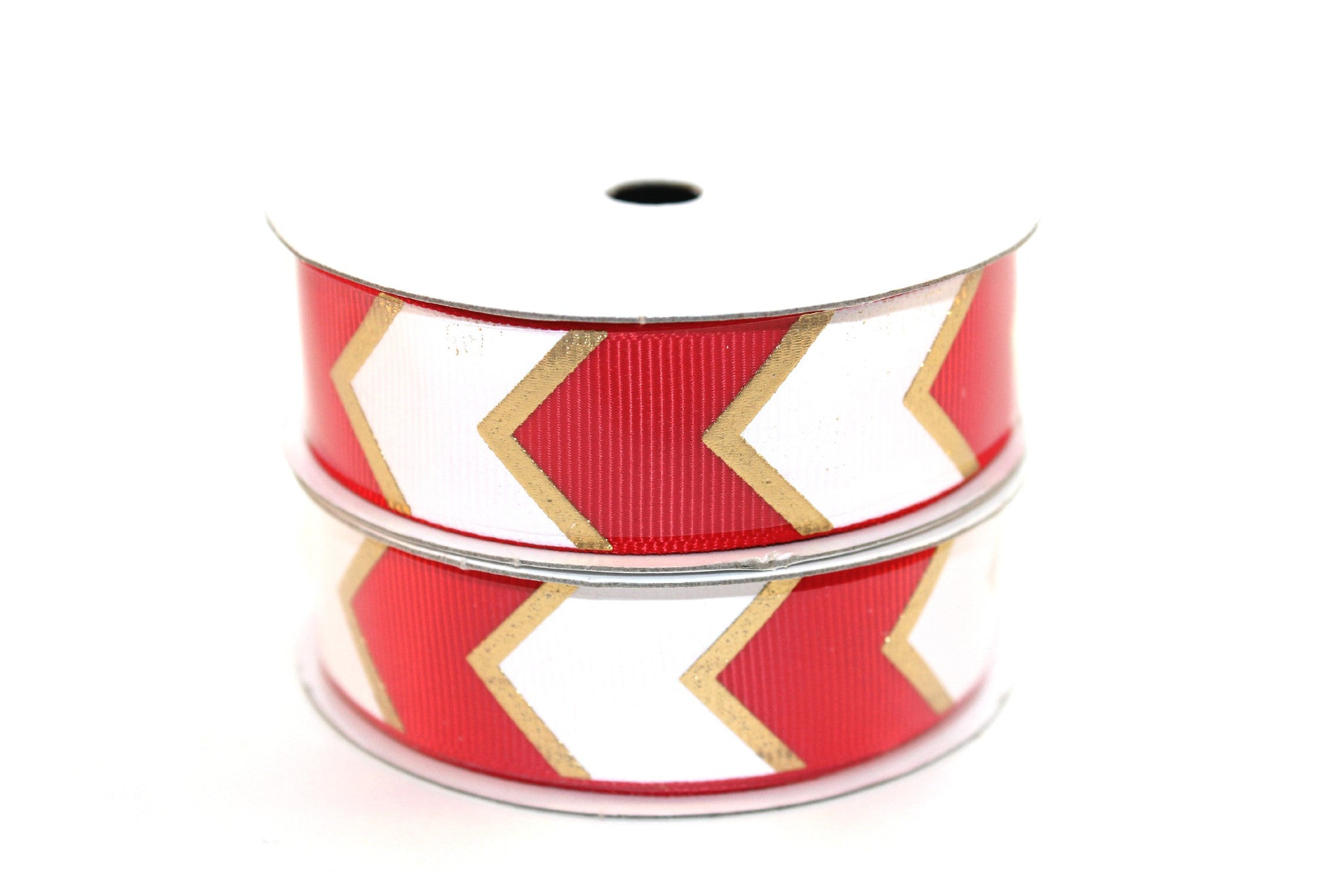 "7/8"" Hot Red White/Gold Fashion Chevron Grosgrain Ribbon - Peak Bloom"