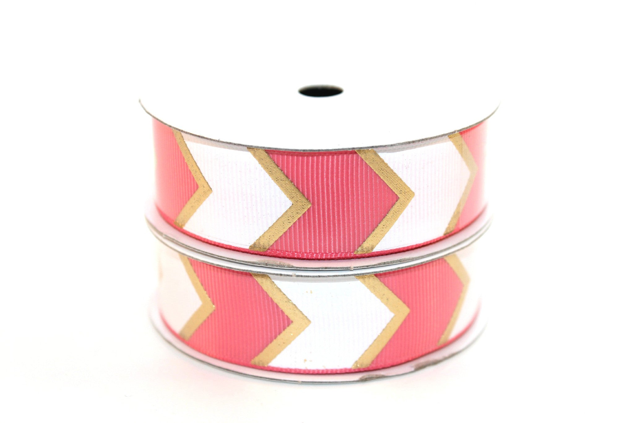 "7/8"" Coral Rose White/Gold Fashion Chevron Grosgrain Ribbon - Peak Bloom"