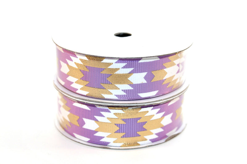"7/8"" Hyacinth Purple White/Gold Fashion Aztec Grosgrain Ribbon - Peak Bloom"