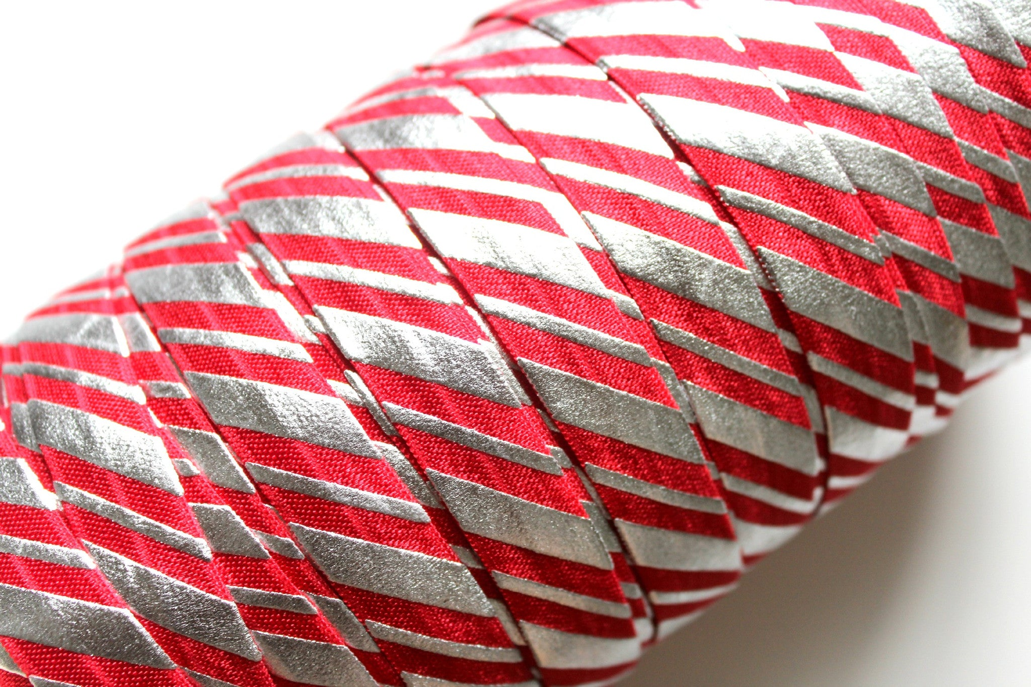 "5/8"" Silver Candy Cane Fold Over Elastic - Peak Bloom"