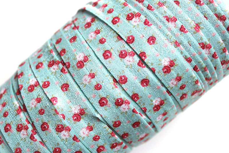 "5/8"" Vintage Blue and Red Floral Fold Over Elastic - Peak Bloom"