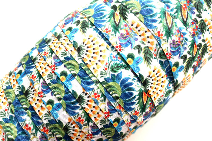 "5/8"" Blue Tropical Floral Fold Over Elastic - Peak Bloom  - 1"