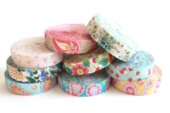 "5/8"" Blue Tropical Floral Fold Over Elastic - Peak Bloom  - 2"