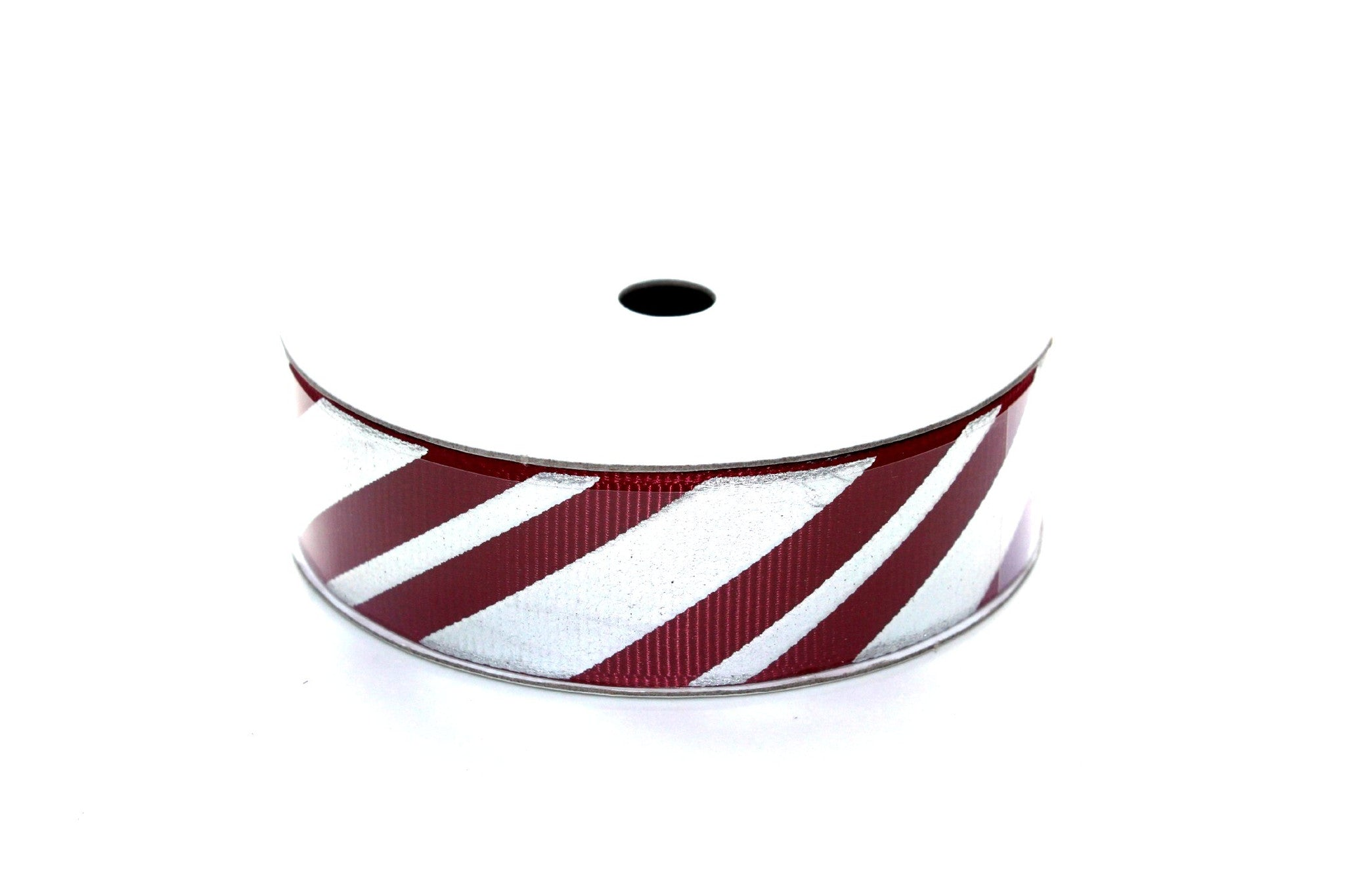 "7/8"" Wine with Silver Candy Cane Grosgrain Ribbon - Peak Bloom"