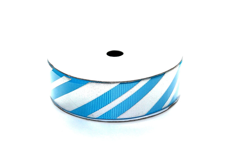 "7/8"" Turquoise with Silver Candy Cane Grosgrain Ribbon - Peak Bloom"