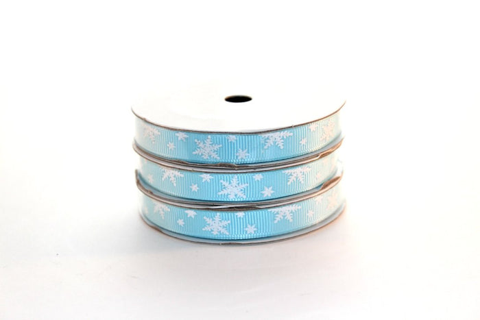 "3/8"" White Glitter Snowflakes Grosgrain Ribbon - Peak Bloom"