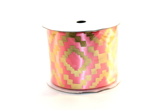 "2.25"" Gold Aztec Satin Ribbons - Peak Bloom"