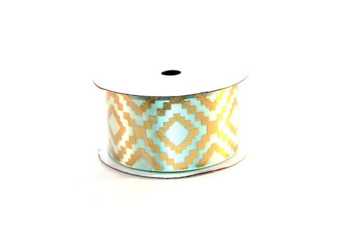 "1.5"" Gold Aztec Satin Ribbon - Peak Bloom"