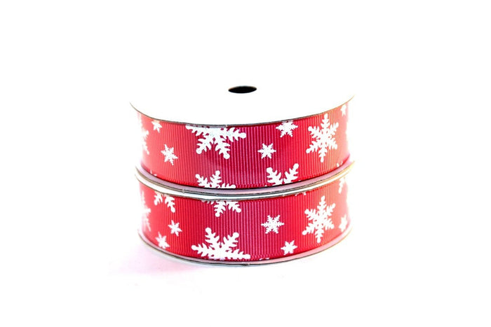 "7/8"" White Glitter Snowflakes Grosgrain Ribbon - Peak Bloom"