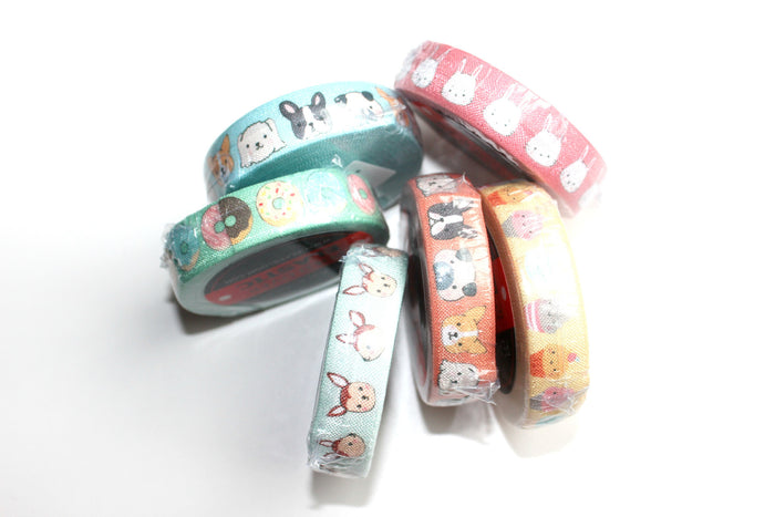 "5/8"" Alice Blue Dogs Fold Over Elastic - Peak Bloom"