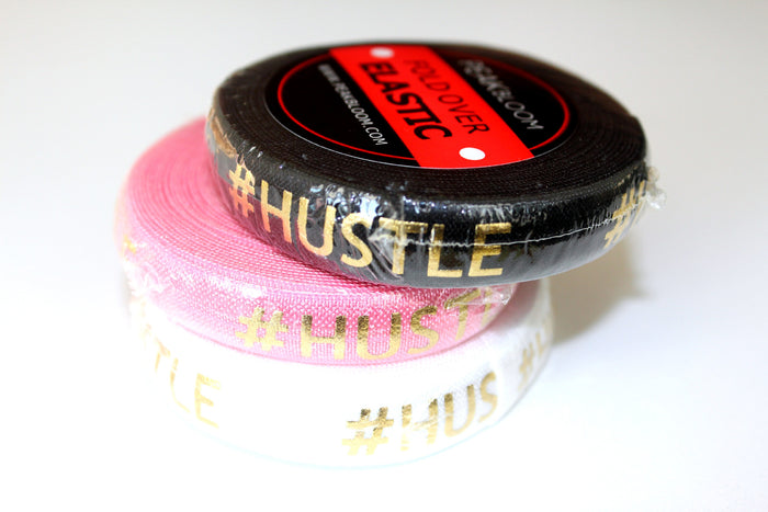 "5/8"" Gold #Hustle Fold Over Elastic - Peak Bloom"