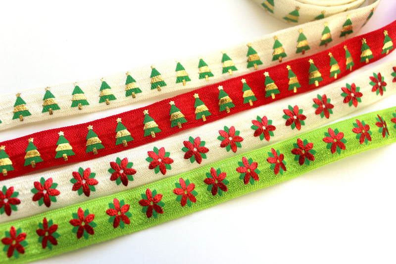 "5/8"" Green and Red (Holiday) Fold Over Elastic - Peak Bloom"