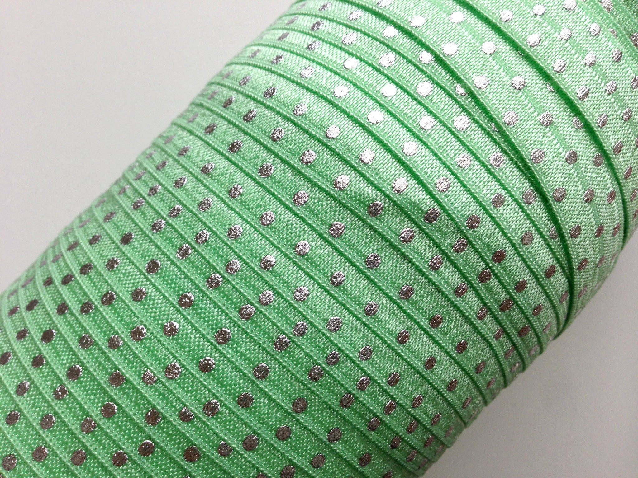 "5/8"" Silver Dot Fold Over Elastics - Peak Bloom"