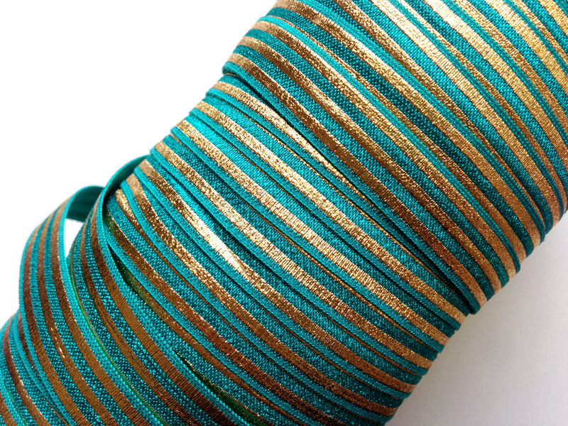 "5/8"" Gold Stripes Fold Over Elastic - Peak Bloom"