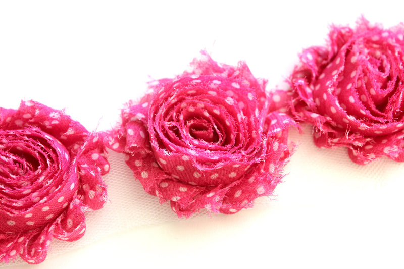 Shabby Rose Flower Trims (Patterns: Dots) - Peak Bloom