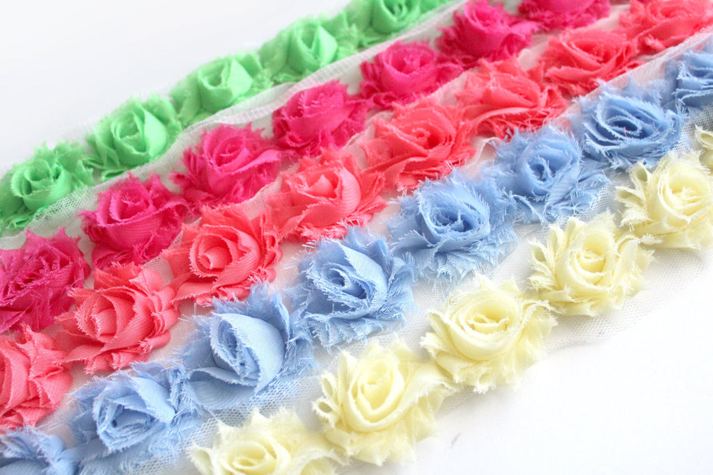 Petite Shabby Flower Trims (Solid Colors)